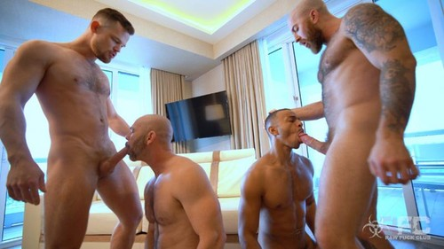 Owen Hawk, Zario Travezz, Kurtis Wolfe, Nigel March 'Penthouse Fuck Party' [Bareback]