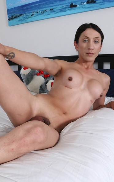 petite latina trans girl jerks off then gets plowed