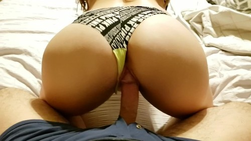 Pov riding cock and finger in vs panties while watching porn
