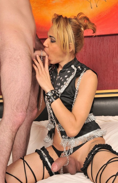Chic Blonde Tgirl Glazed In Cum
