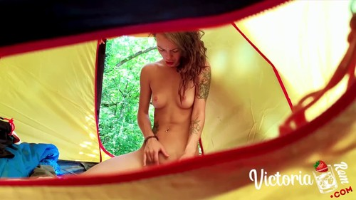 Spied a girl masturbating in a tent