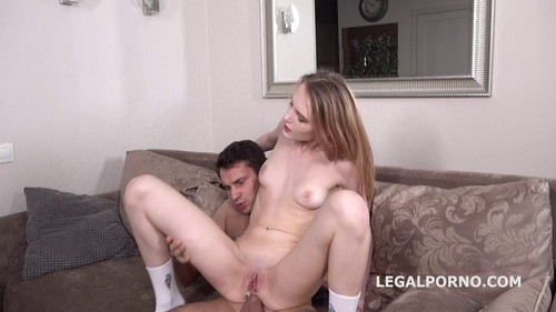Skinny blonde gets tight ass penetrated