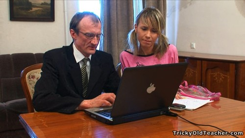 Extreme Skinny Russian Inna - Schoolgirl takes teacher's cock all the way deep her tight slit.